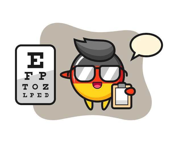 Germany flag badge mascot as a ophthalmology Premium Vector