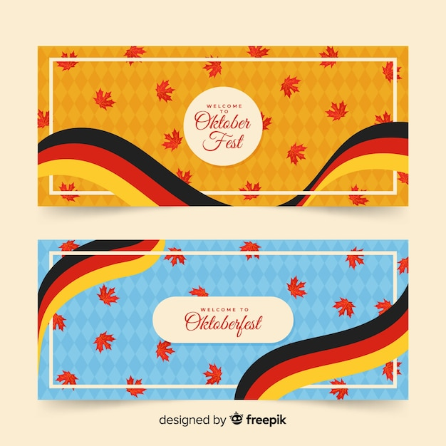 Germany flag and dried leaves on oktoberfest banners Free Vector