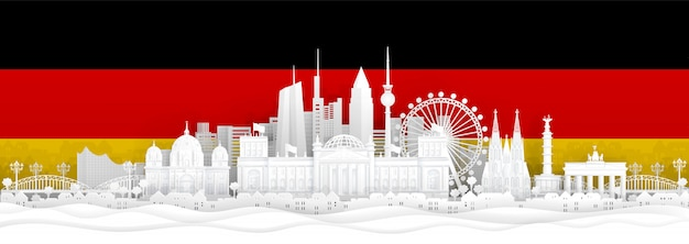 Germany flag and famous landmarks in paper cut style vector illustration. Premium Vector