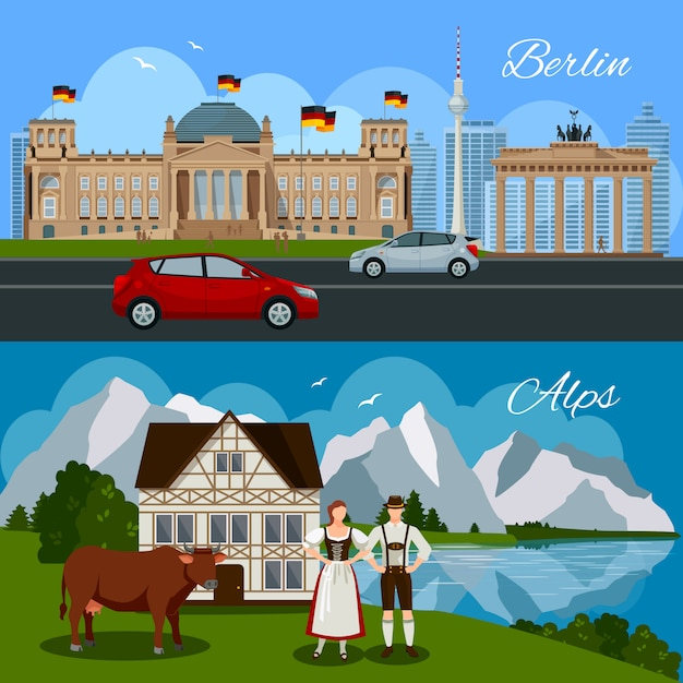 Germany flat composition Free Vector