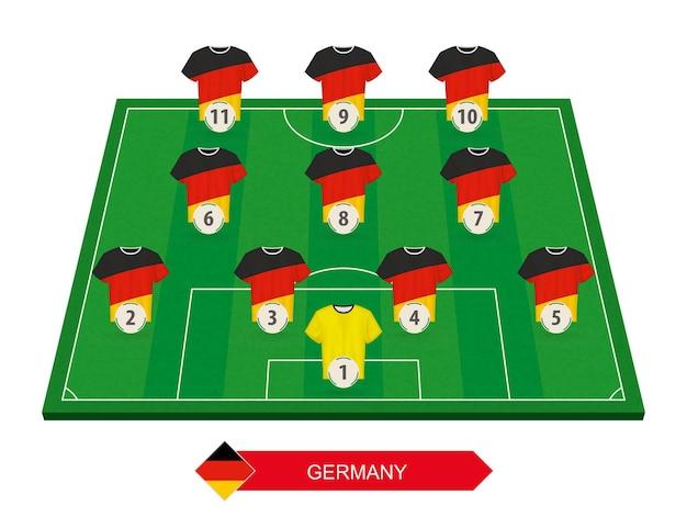 Состав сборной германии по футболу на футбольном поле для европейского футбольного соревнования Premium векторы