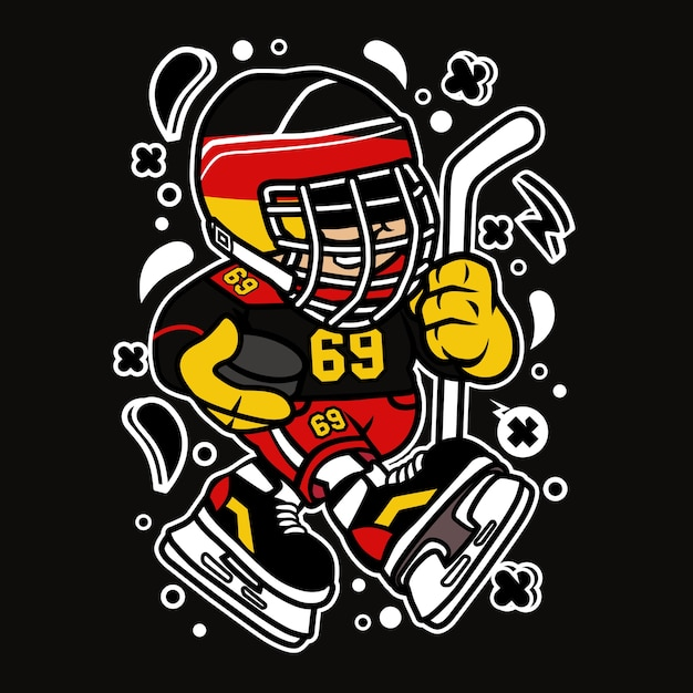 Germany Hockey Kid Cartoon Premium Vector
