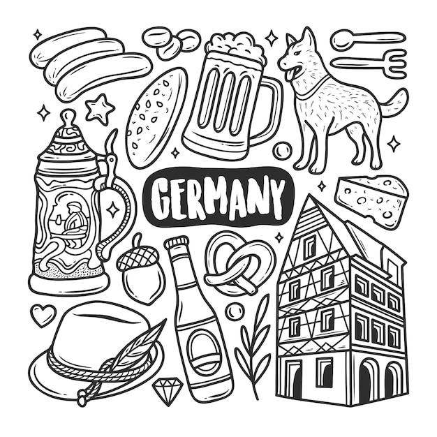 Germany icons hand drawn doodle coloring Free Vector