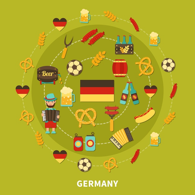 Germany icons round composition Free Vector