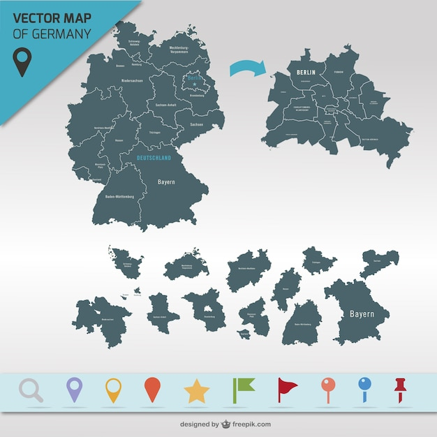 Germany map and map points Free Vector