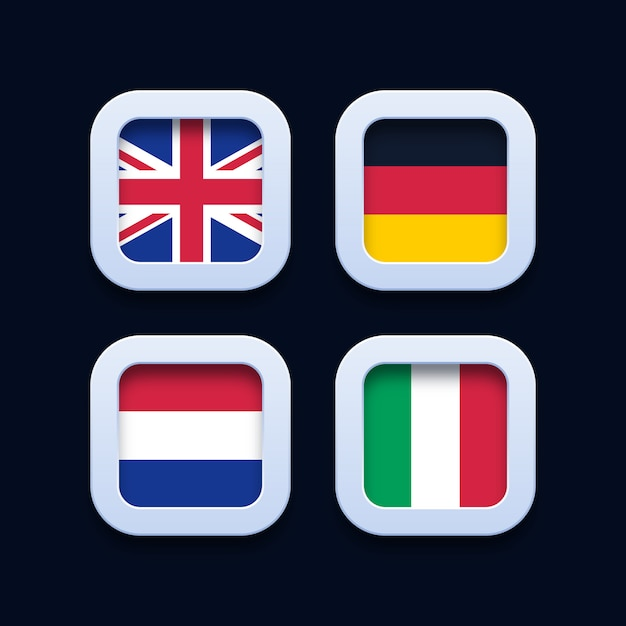 Germany, netherlands, united kingdom and italy flags 3d button icons Premium Vector