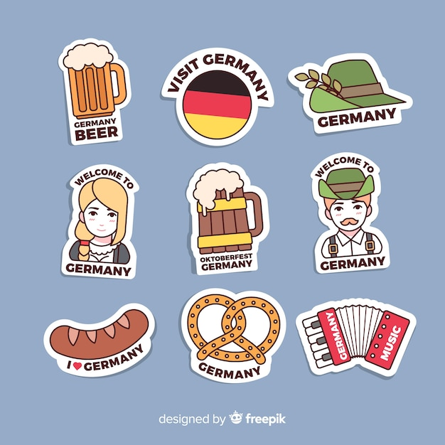 Germany sticker collection Free Vector