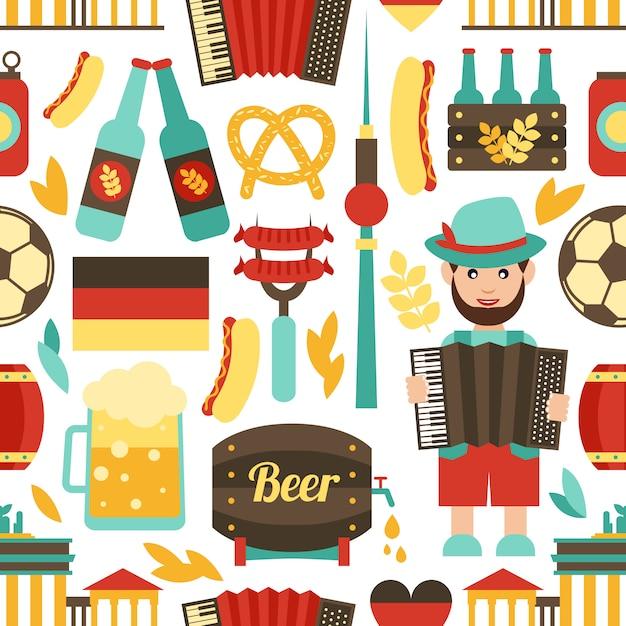 Germany travel seamless pattern Premium Vector
