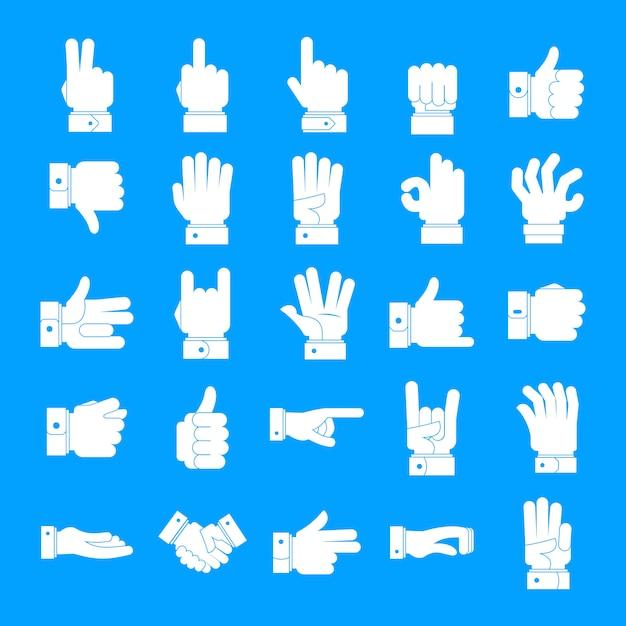 Gesture icons set, simple style Premium Vector