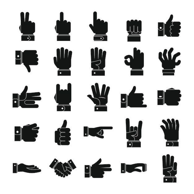 Gesture icons set Premium Vector