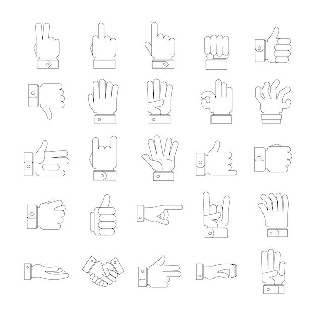 Gesture icons set Premium Vector