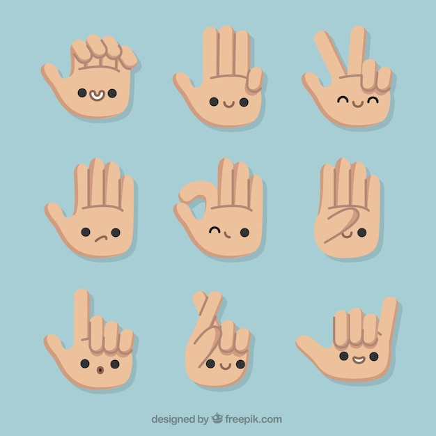 Gestures with hands and nice faces Free Vector