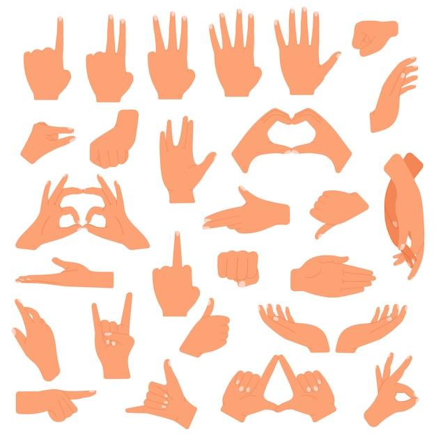 ジェスチャーの手。コミュニケーション手ジェスチャー、ポインティング、指を数え、okサイン、パームジェスチャー言語イラストセット。信号のジェスチャー、ポインティング、ハンドシェイク Premiumベクター