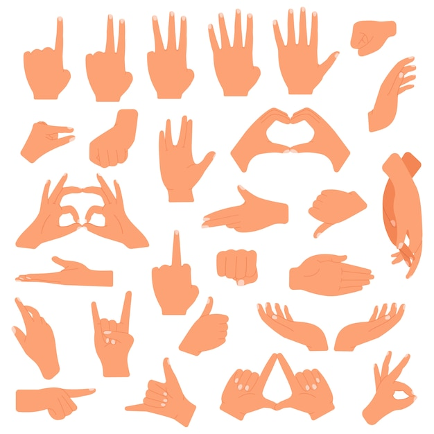 Gesturing hands. communication hand gesture, pointing, counting fingers, ok sign, palm gesture language  illustration set. gesturing signal expression, pointing and handshake Premium Vector