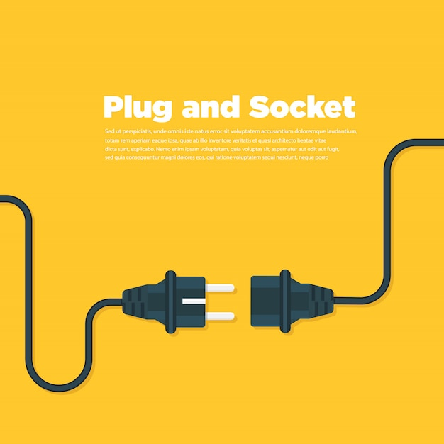 Get connected plug and socket flat icon Premium Vector