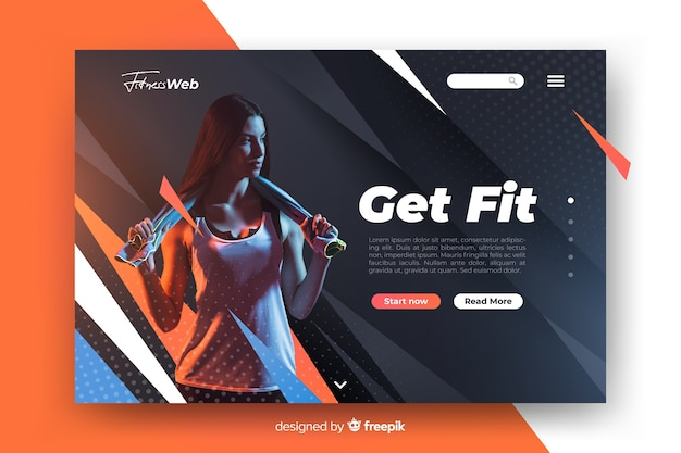 Get fit sport landing page with image Free Vector