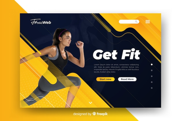 Get fit sport landing page with photo Free Vector