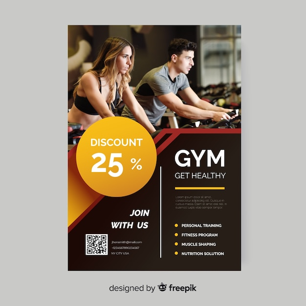 Get healthy sport flyer with photo Free Vector