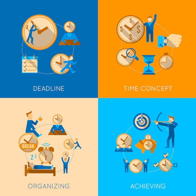 Get organized meeting deadline time management efficiency achieving concept flat composition isolated vector illustration Free Vector