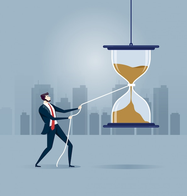 Get panic and try to stop time Premium Vector