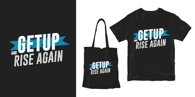 起き上がり、再び立ち上がる。動機付けの引用タイポグラフィポスターtシャツマーチャンダイジングデザイン Premiumベクター