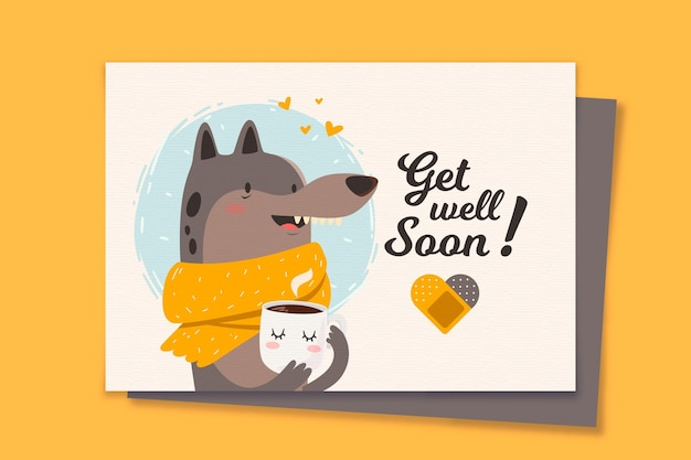 Get well soon card template Free Vector
