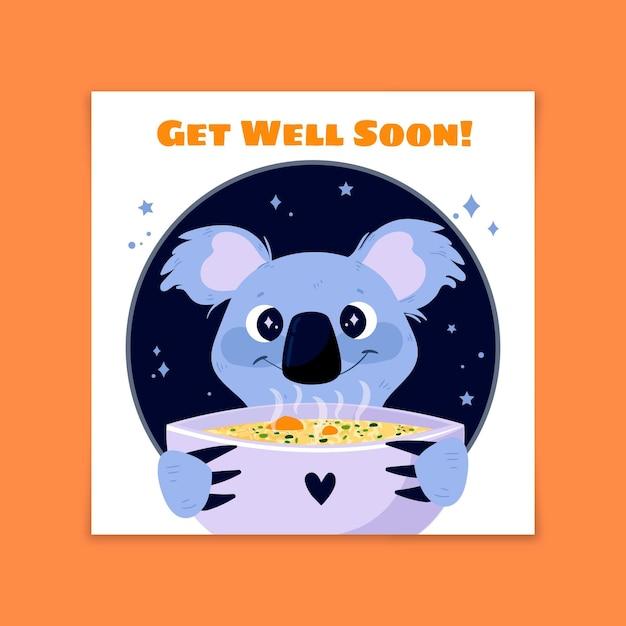 Guarisci presto koala carino con zuppa Vettore gratuito