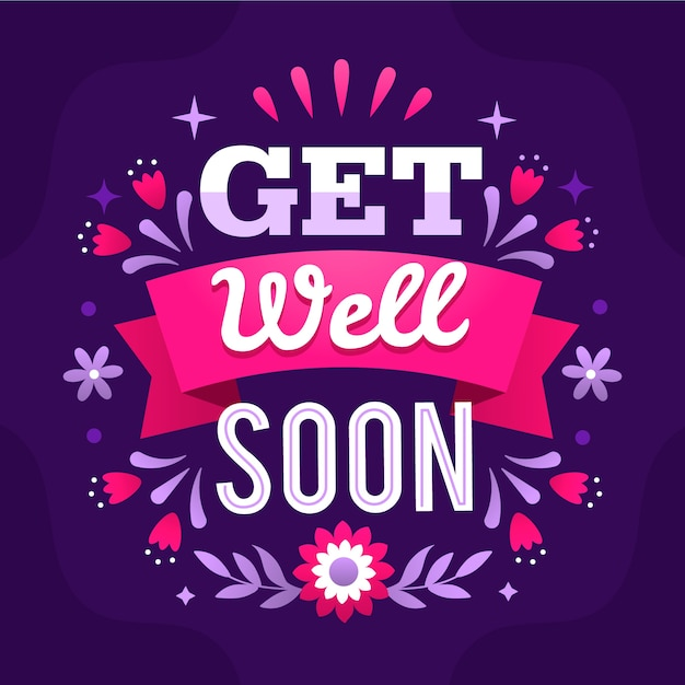 Get well soon lettering Free Vector