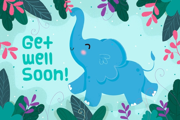 Get well soon message with elephant Free Vector