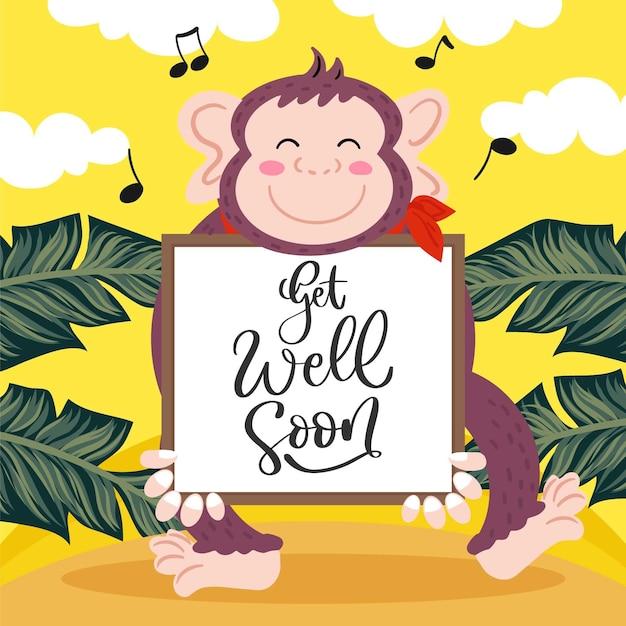 Выздоравливай сообщение с иллюстрированной милой обезьяны Бесплатные векторы
