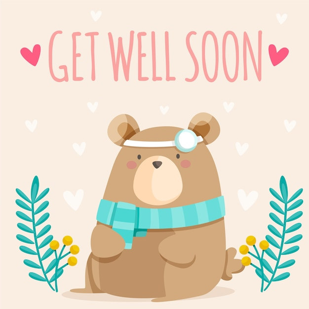 Free Vector | Get well soon quote and cute bear