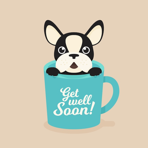 Premium Vector Get Well Soon Quote And French Bulldog