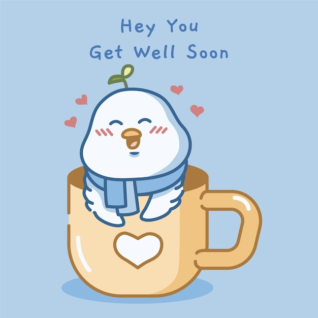 Get well soon with cute bird Free Vector