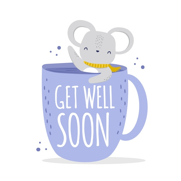 Get well soon with cute character Free Vector