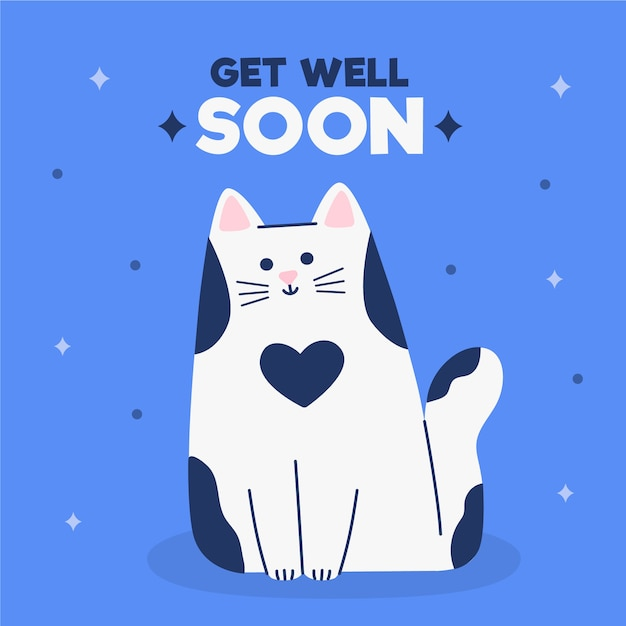 Get well soon with a cute character Free Vector