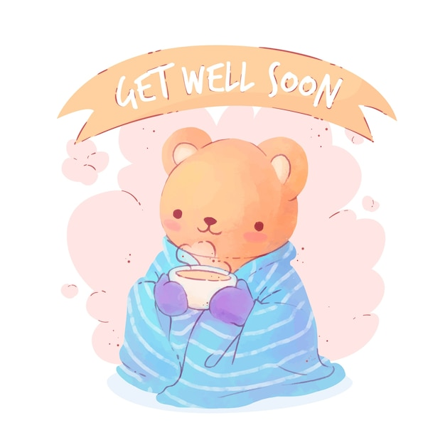 Free Vector | Get well soon with a cute character