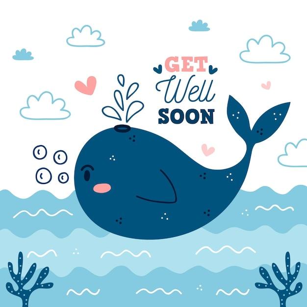 Выздоравливай скорее с милым китом Premium векторы
