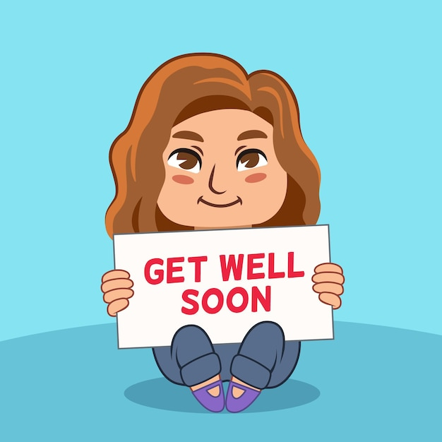Get well soon and woman with brown hair Free Vector