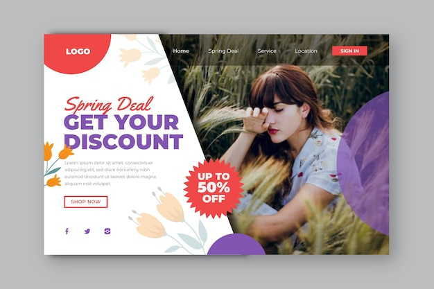 Get your discount landing page Free Vector