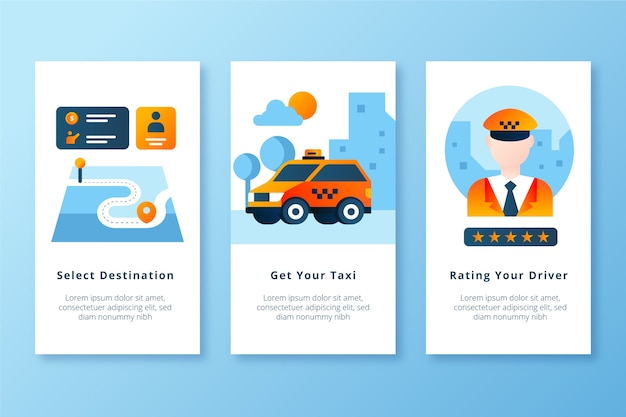 Get your taxi and rate the driver mobile app screens Free Vector