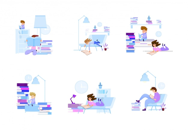 Getting knowledge of young people from books Premium Vector