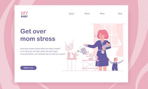 Getting over mom stress and postpartum depression landing page template Premium Vector