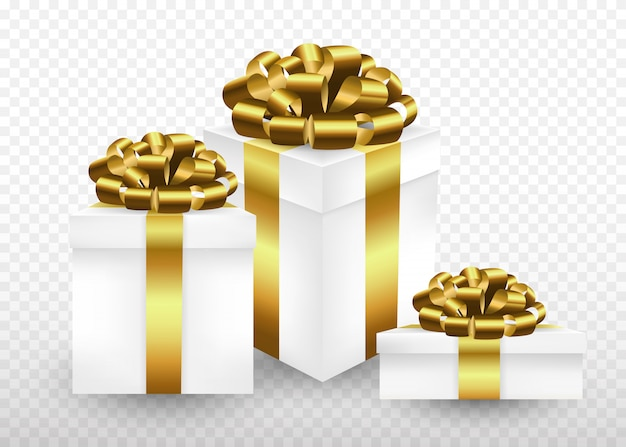 Gft коробки, завернутые в золотую ленту и лук сверху. реалистичная иллюстрация стиля. Premium векторы