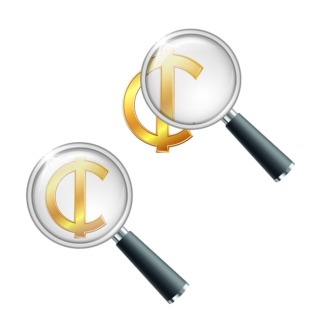 Ghana cedi rupee currency sign with magnifying glass Premium Vector