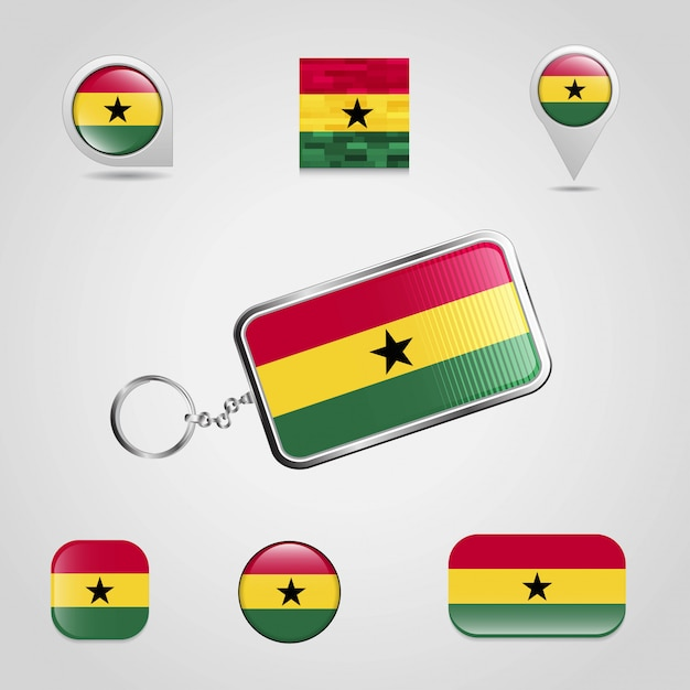 Ghana country flag on keychain and map pin different style Premium Vector