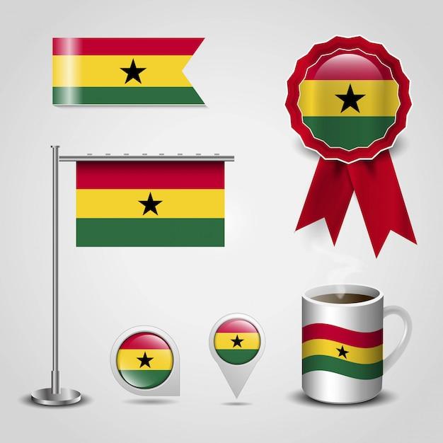 Ghana country flag set Premium Vector