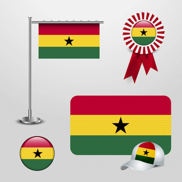 Ghana country flag Premium Vector
