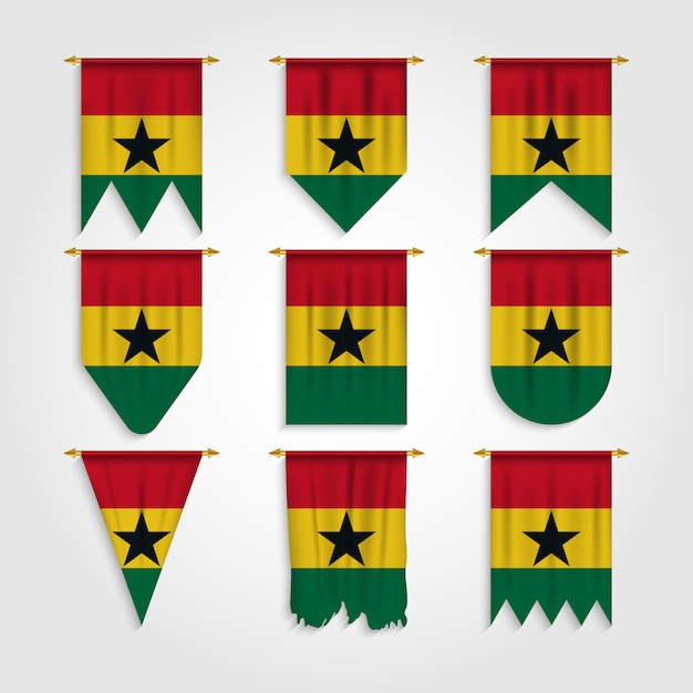 Ghana flag in different shapes, flag of ghana in various shapes Premium Vector