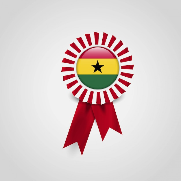 Ghana flag ribbon banner badge Free Vector