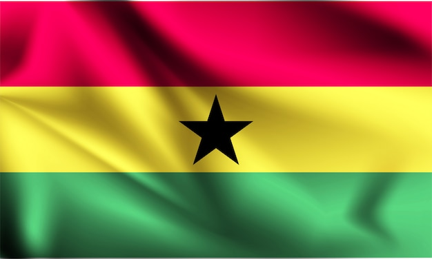 Ghana flag waving with the wind, 3d illustration Premium Vector